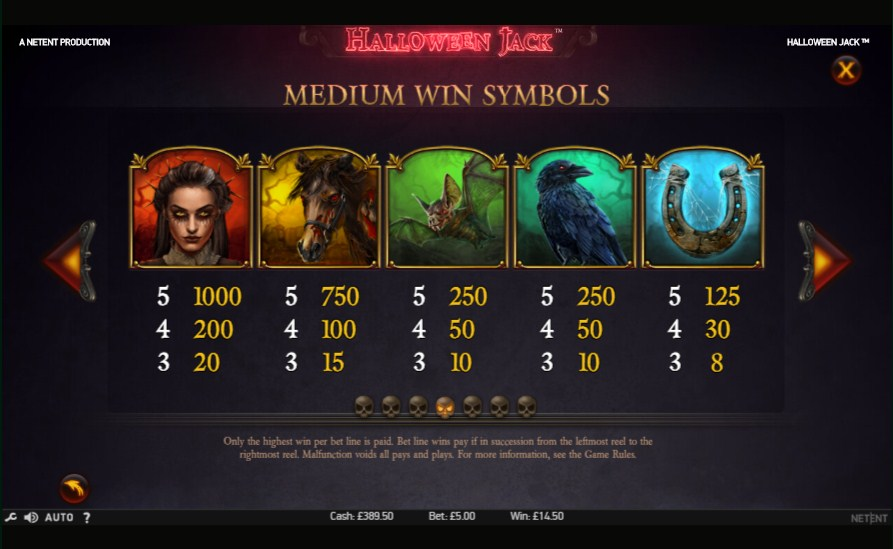 Halloween Jack slot paytable