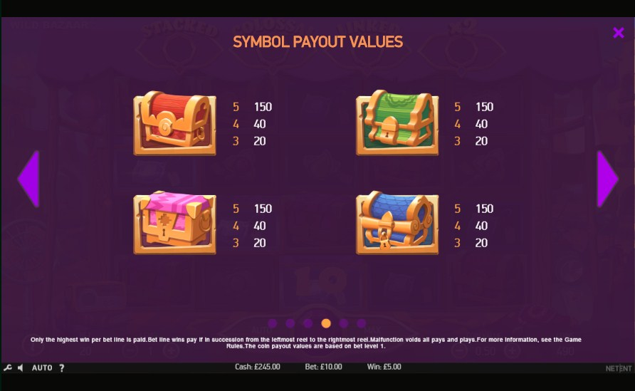 Wild Bazaar slot paytable