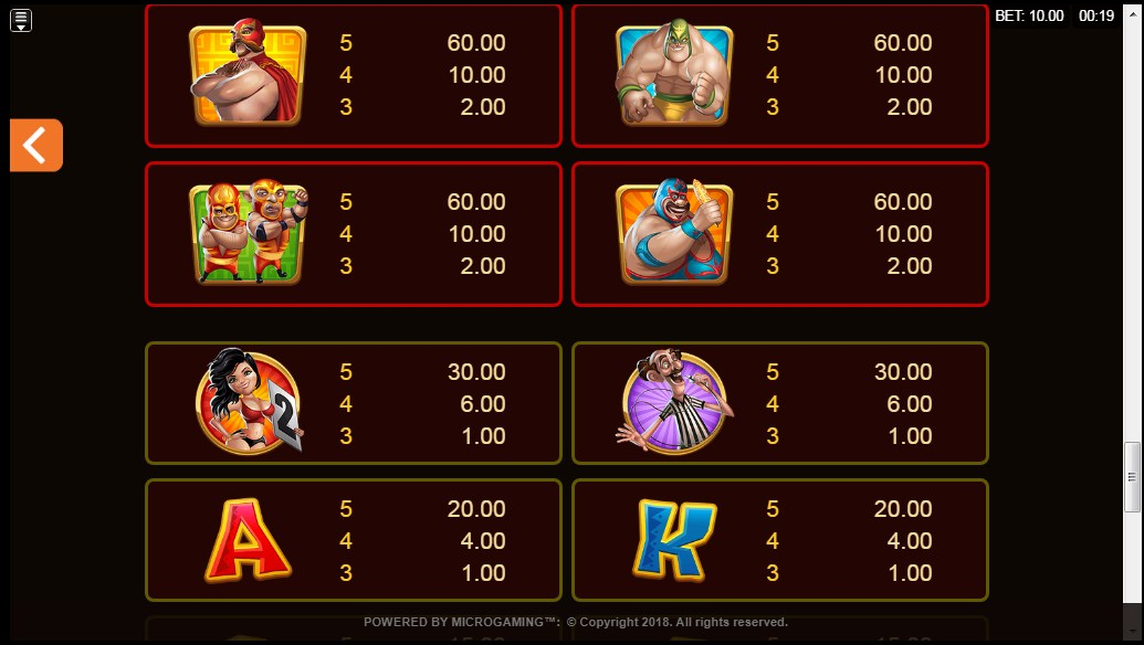 Lucha Legends slot paytable