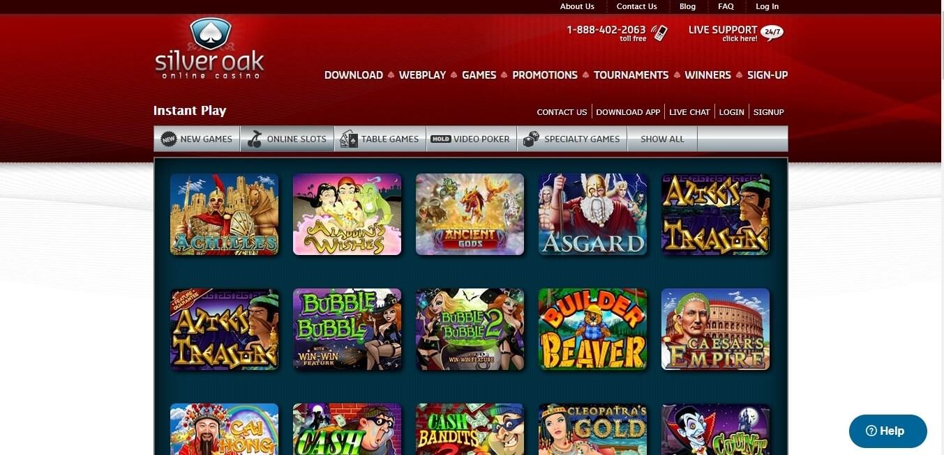 silver oak casino slots