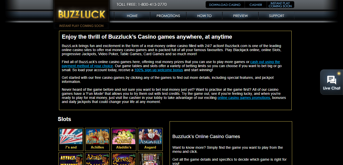 buzzluck casino games