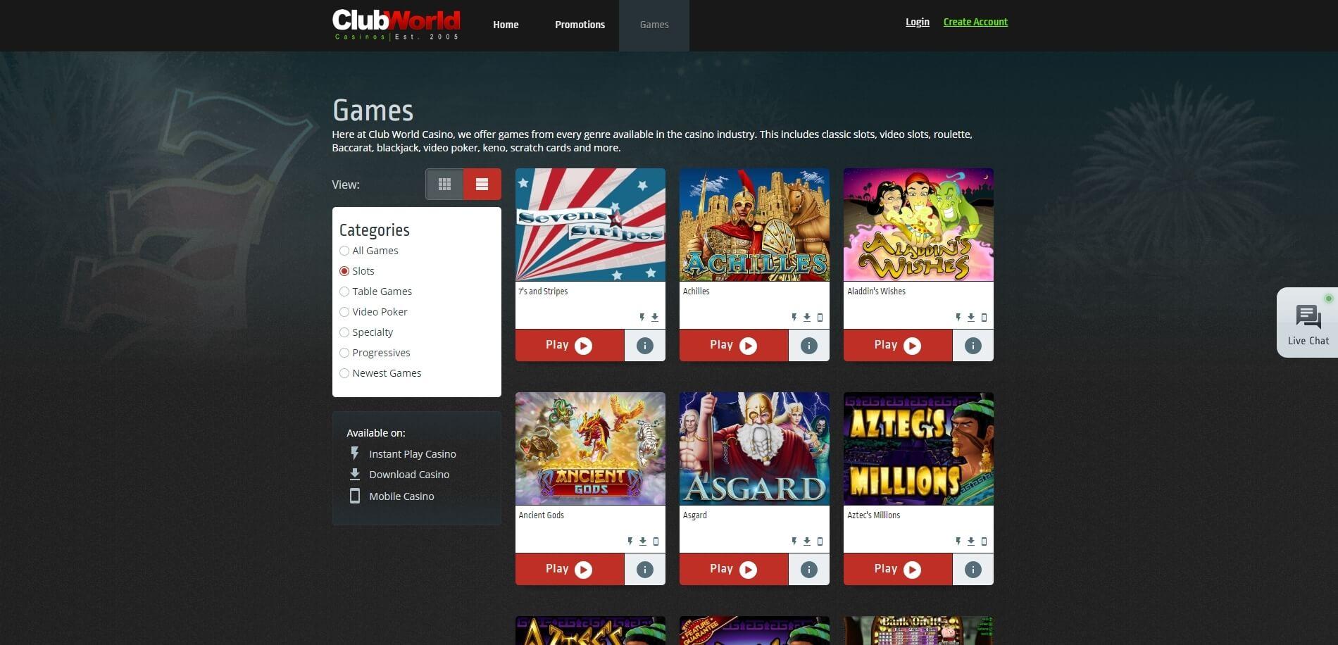 clubworld casino slots