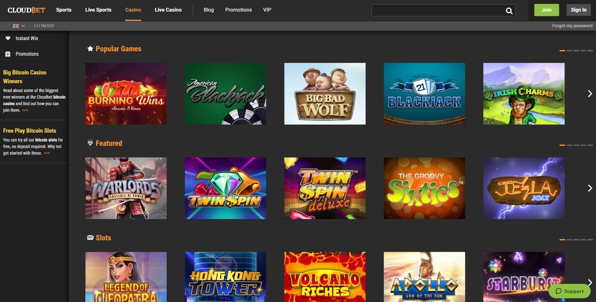 cloudbet casino slots