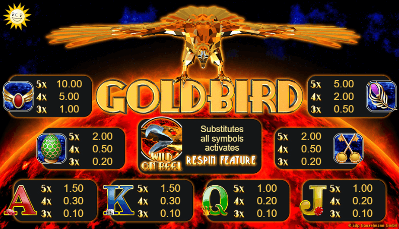 goldbird slot paytable
