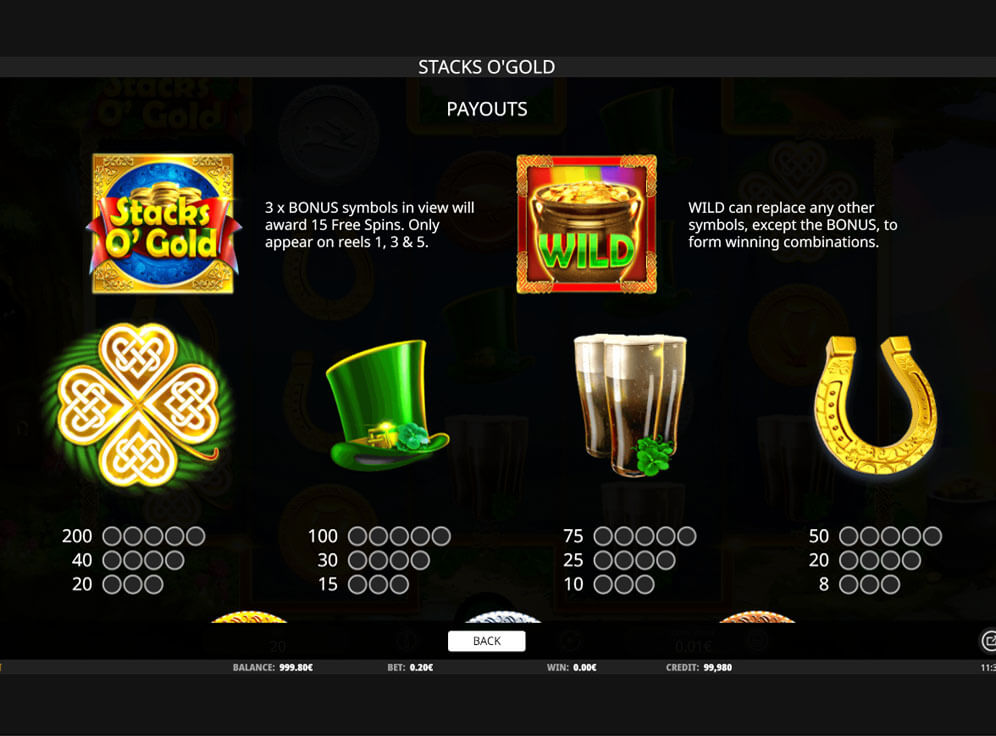 Stacks o' Gold slot paytable