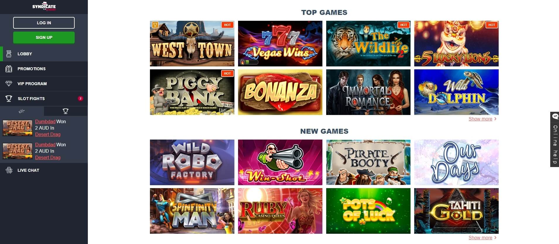 syndicate casino slots