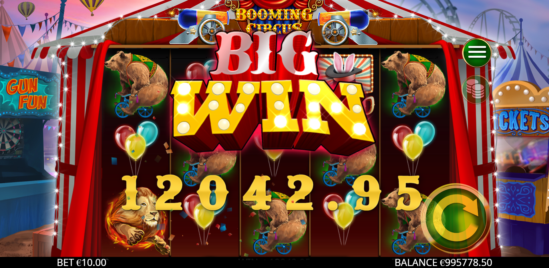 Booming Cirsuc Slot Gameplay