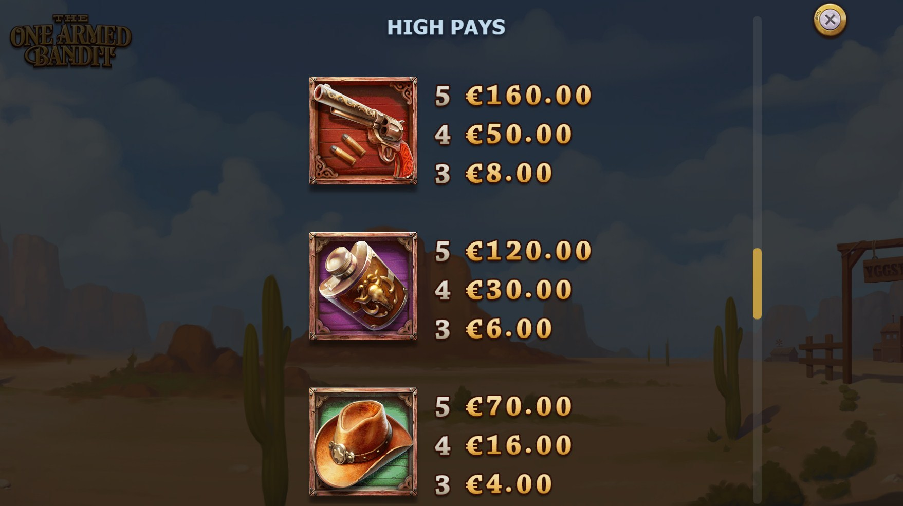The One Armed Bandit Slot Paytable