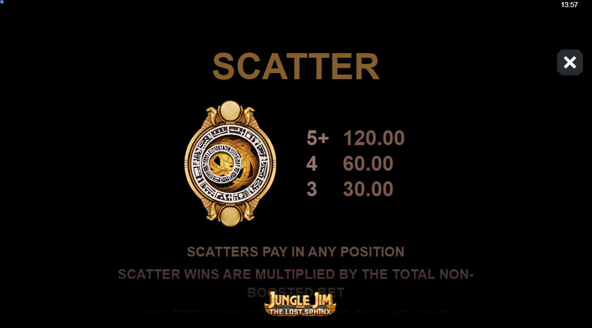 Jungle Jim and the Lost Sphinx slot paytable