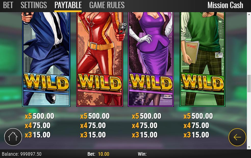 Mission Cash slot paytable