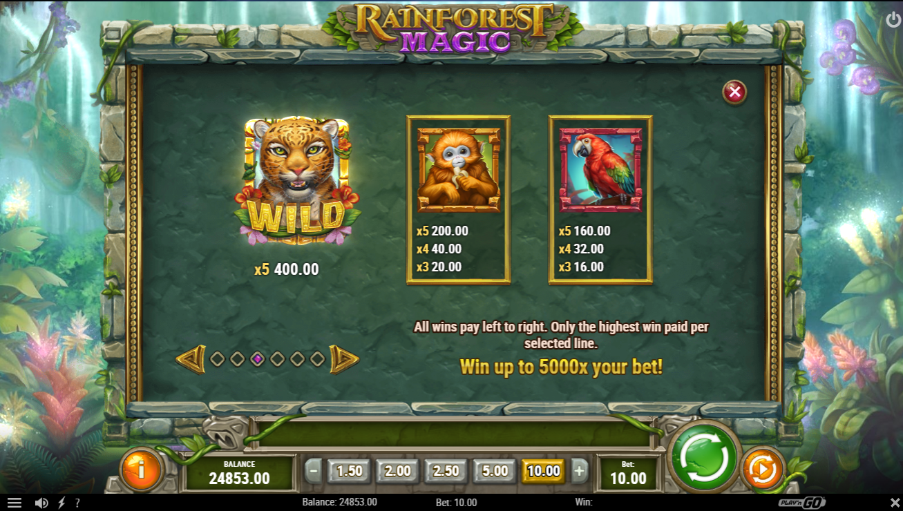 Rainforest Magic slot paytable