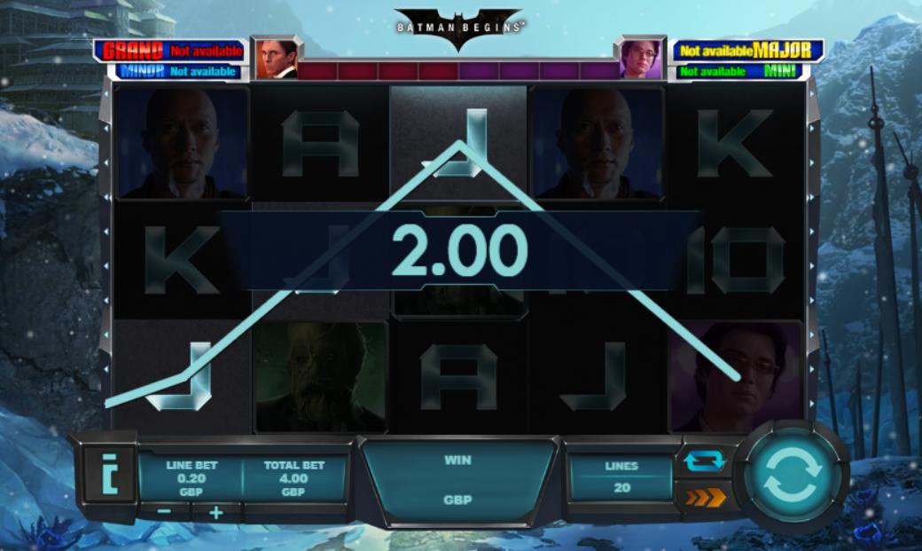 Batman Begins slot gameplay