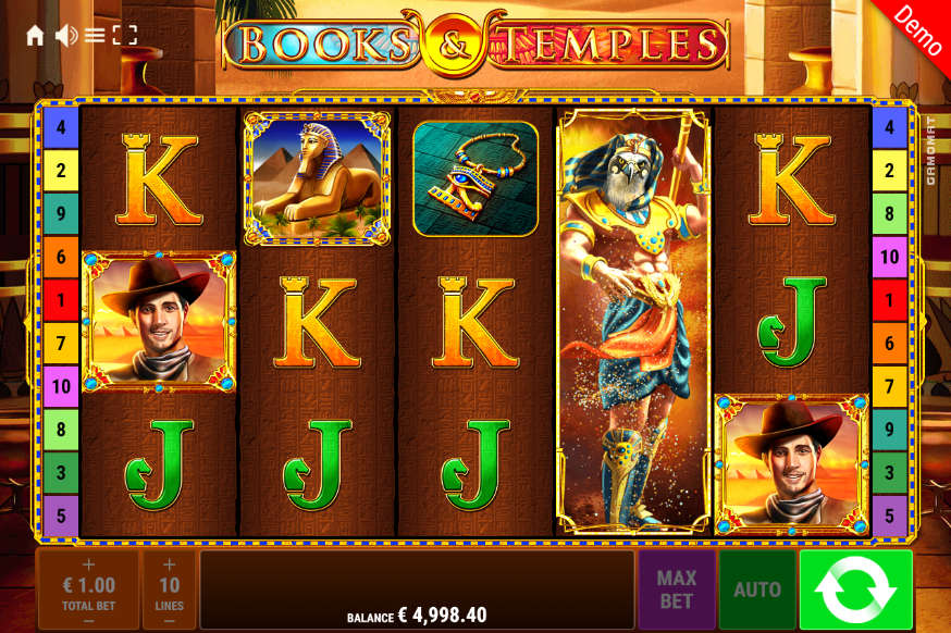 Books and Temples slot gameplay