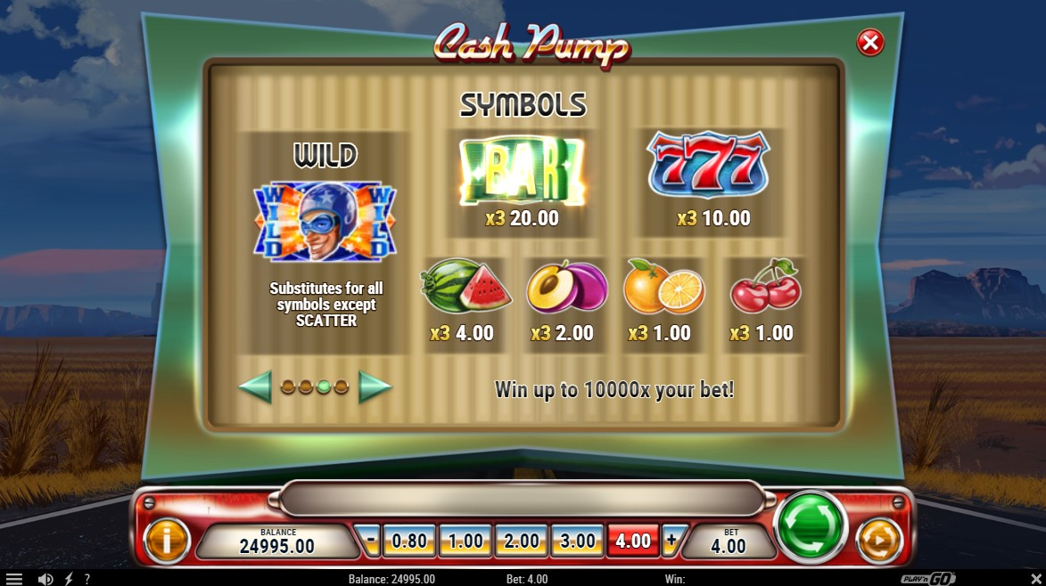 Cash Pump Slot Paytable