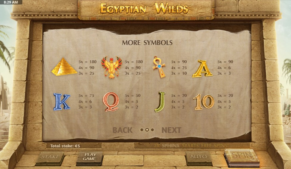 Egyptian Wilds Slot Paytable