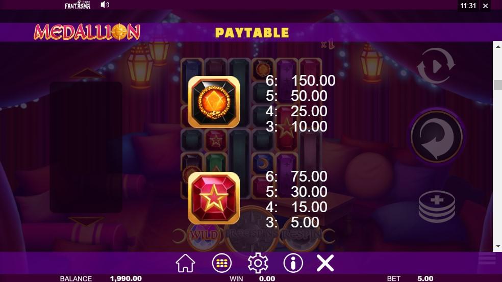 Medallion Megaways Slot Paytable