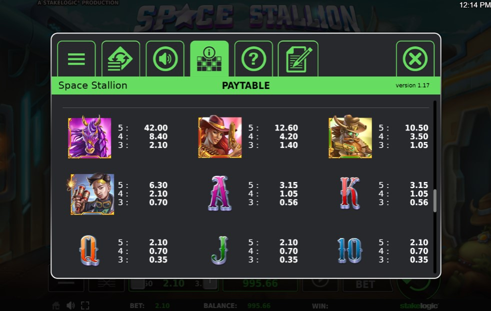 Space Stallion Slot Paytable