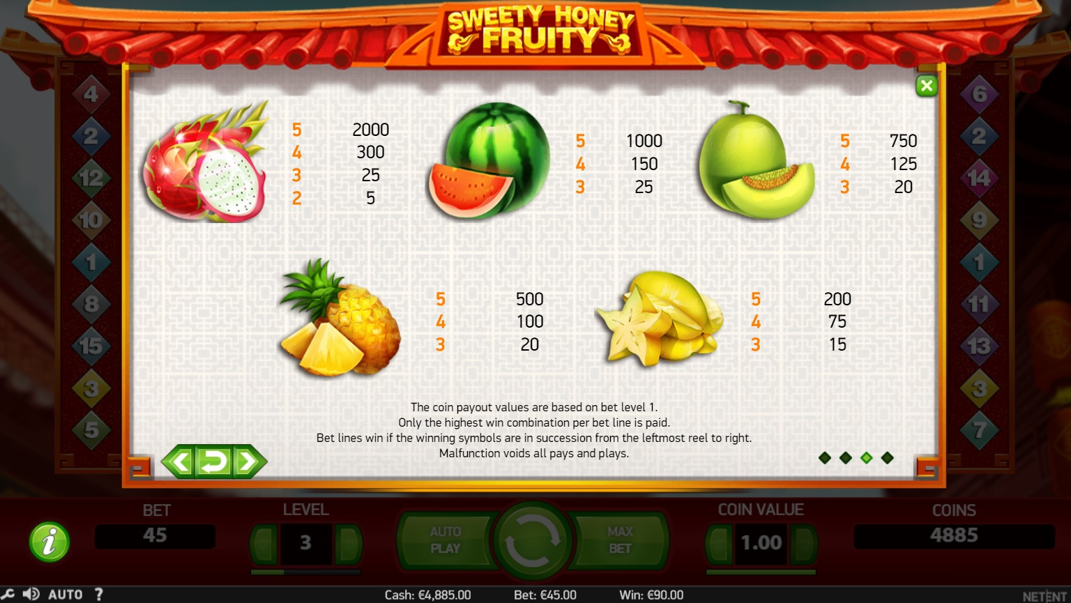 Sweety Honey Fruity Slot Paytable