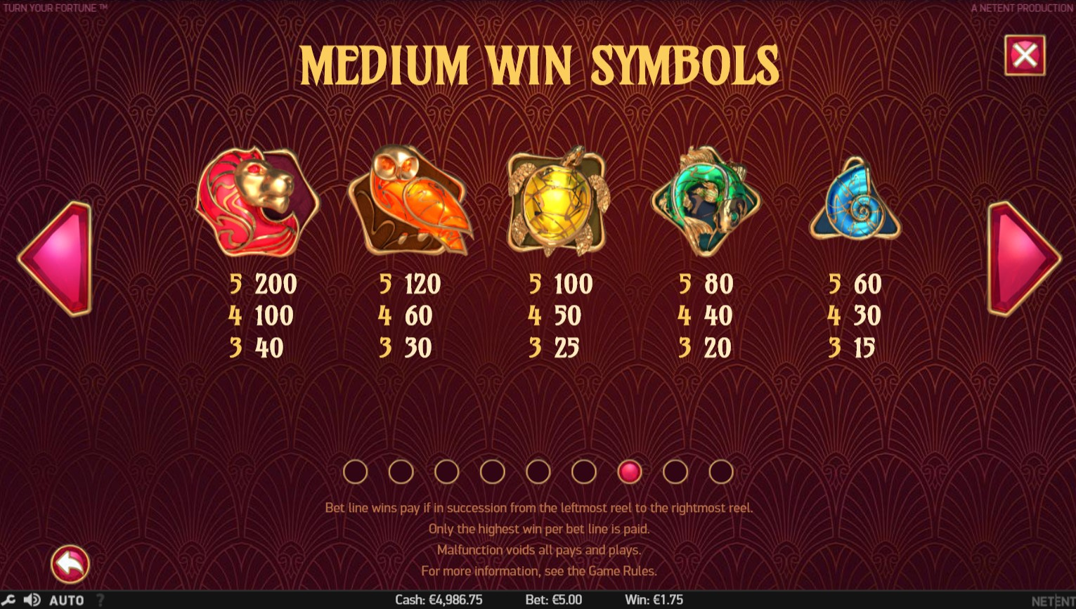 Turn Your Fortune Slot Paytable
