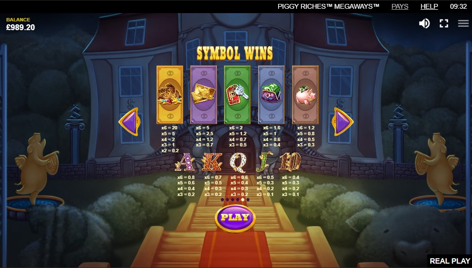 Piggy Riches Megaways Slot Paytable