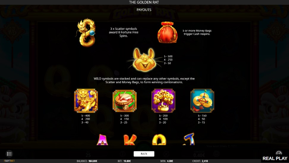 The Golden Rat Slot Paytable