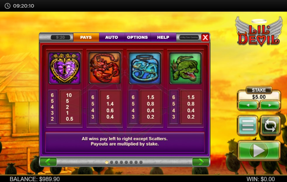 Lil' Devil Slot Paytable