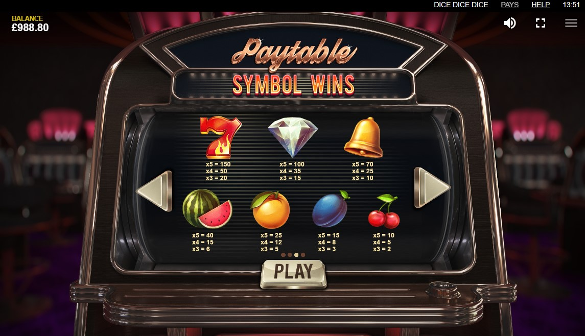 Dice Dice Dice Slot Paytable