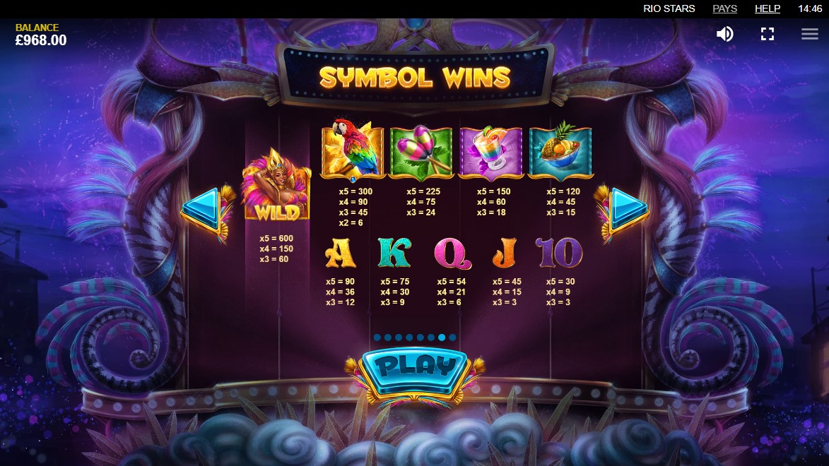 Rio Stars Video Slot Paytable