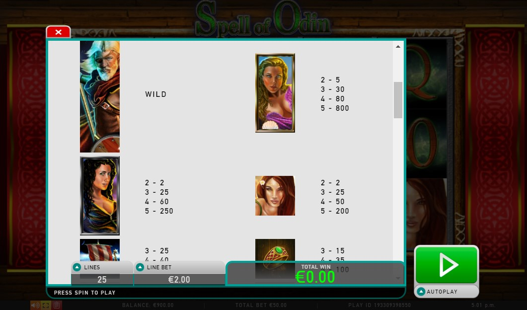 Spell of Odin Slot Paytable