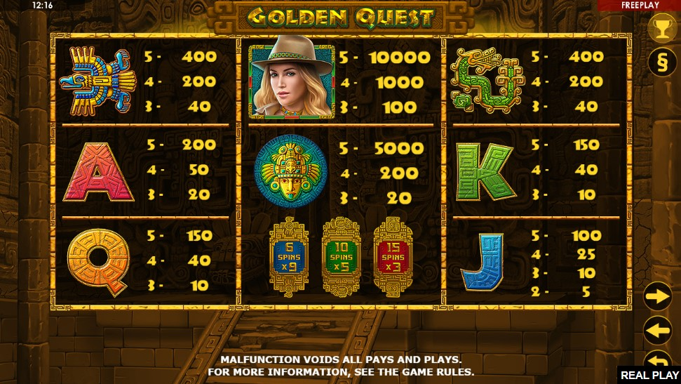 Golden Quest Slot Paytable