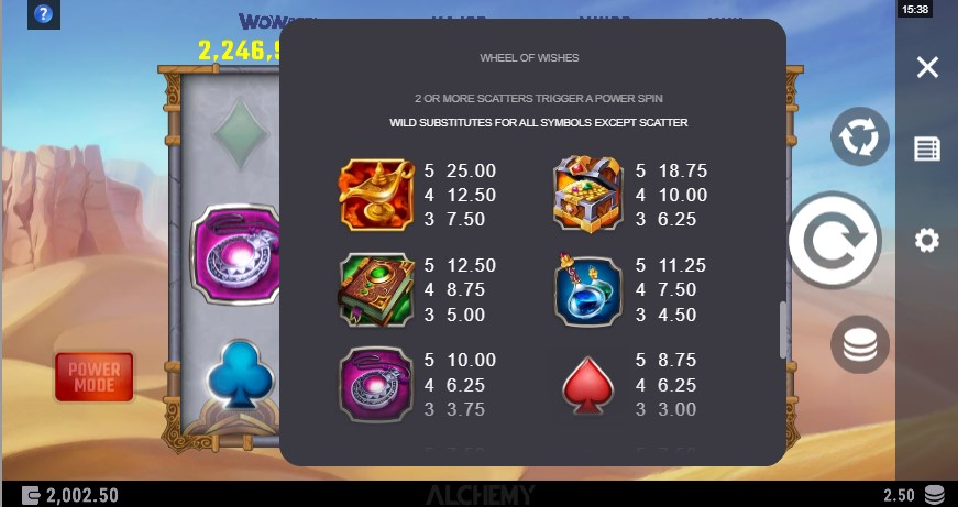 Wheel of Wishes Slot Paytable