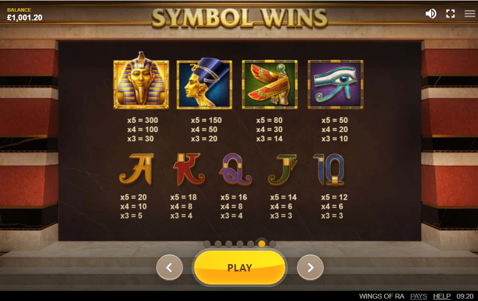 Wings of Ra Slot Paytable