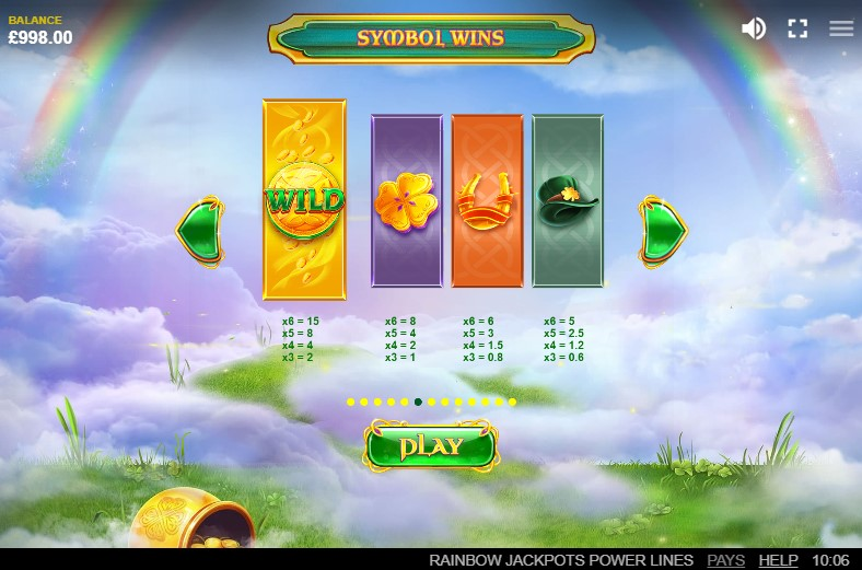 Rainbow Jackpots Power Lines Paytable