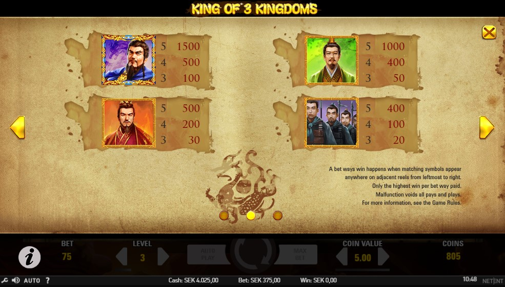 King of 3 Kingdoms Slot Paytable