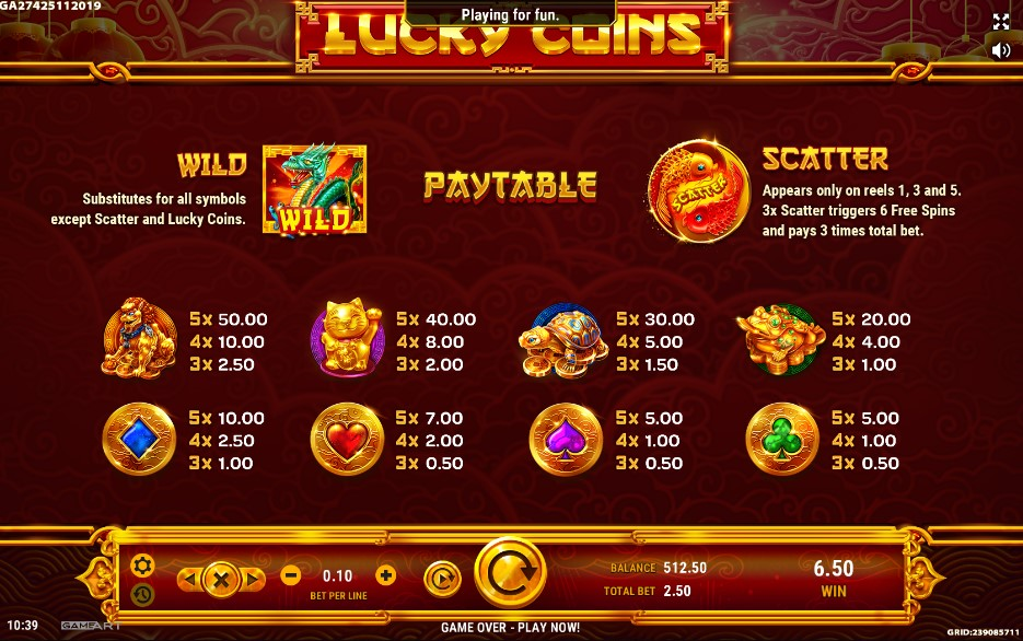 Lucky Coins Slot Paytable