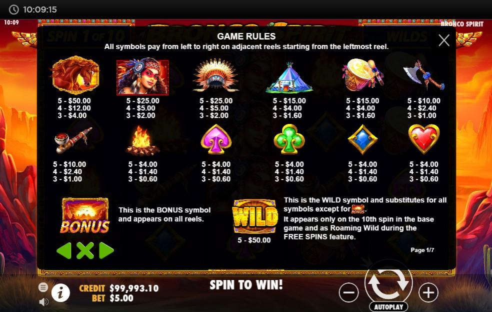 Bronco Spirit Slot Paytable