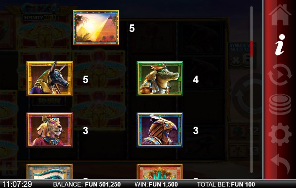 Giza Infinity Reels Slot Paytable