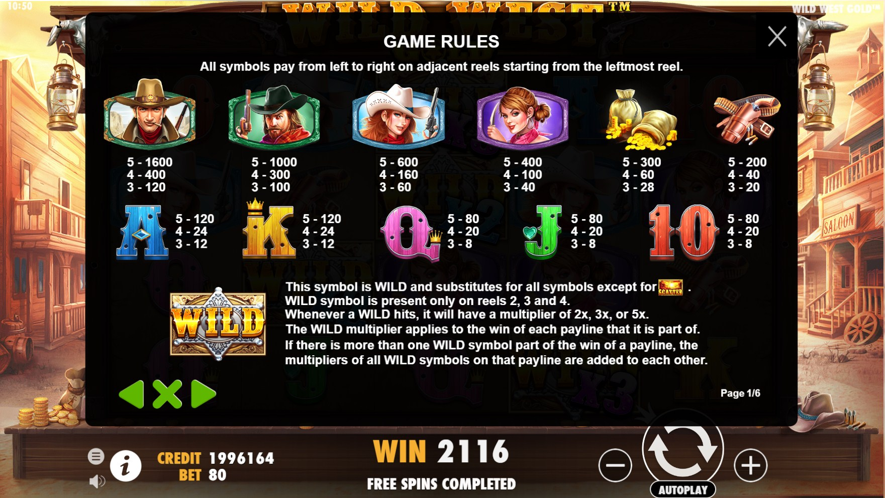 Wild West Gold Slot Paytable