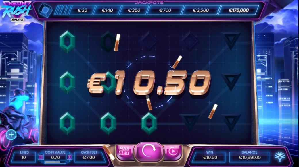Neon Rush Splitz Slot Gameplay