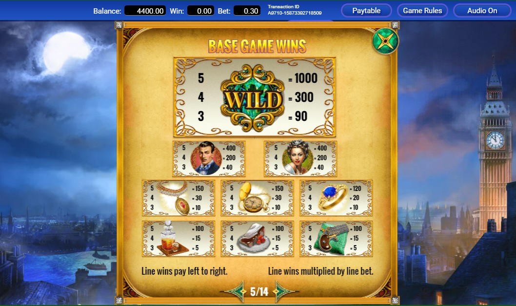 Mystery Express Slot Paytable