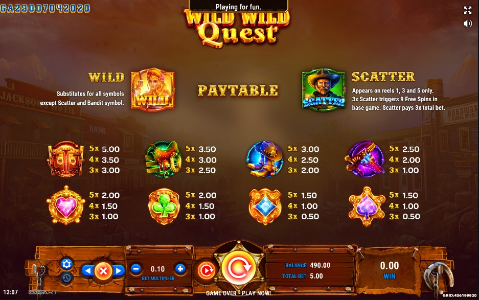 Wild Wild Quest Slot Paytable