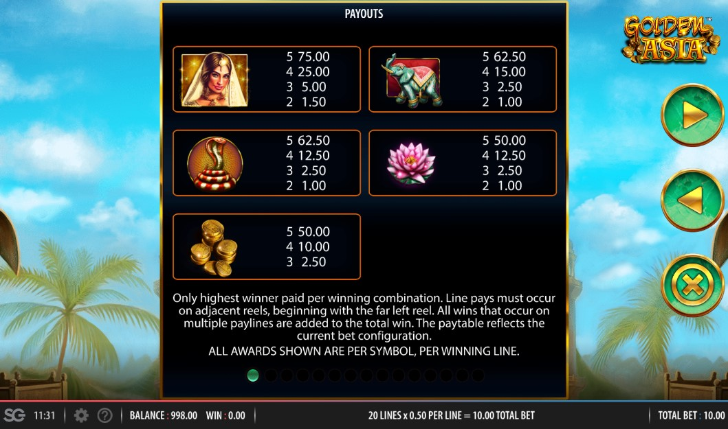 Golden Asia Slot Paytable