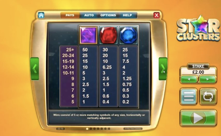 Star Clusters Megaclusters Slot Paytable