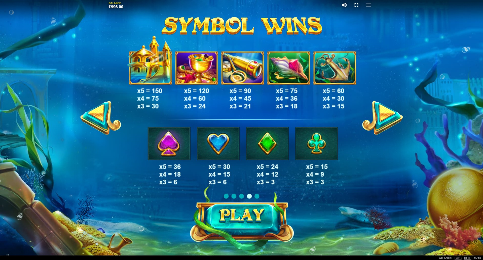 Atlantis Slot Paytable