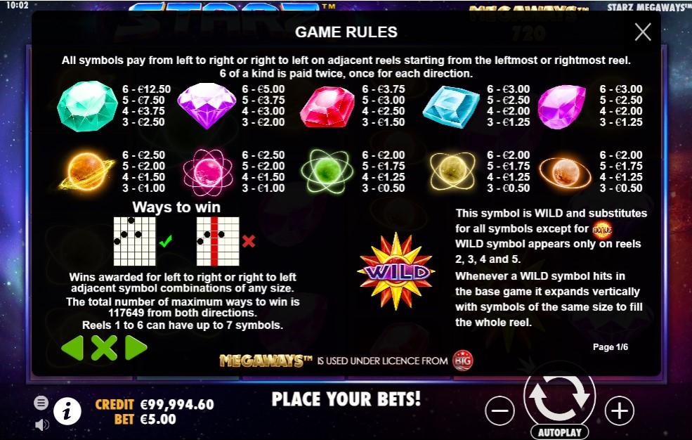 Starz Megaways Slot Paytable