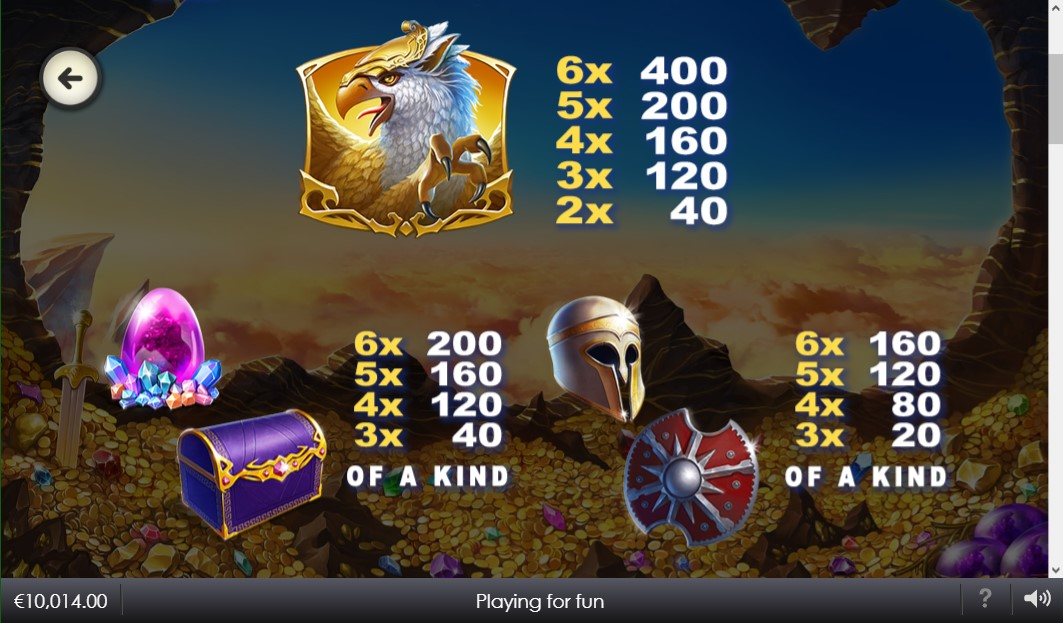 age-of-gods-glorious-griffin-slot-paytable