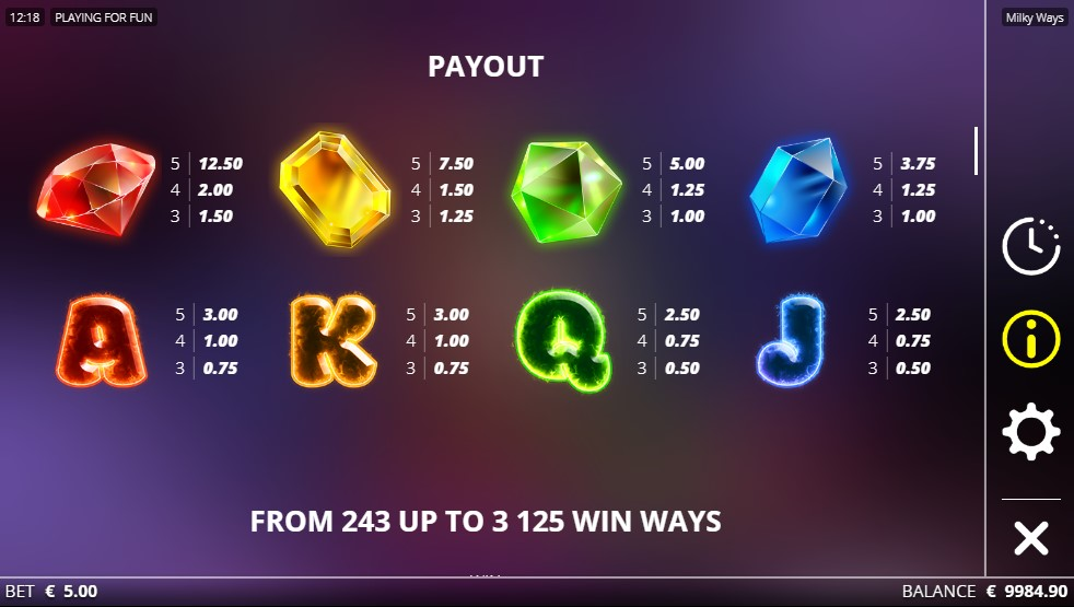 milky-ways-slot-paytable