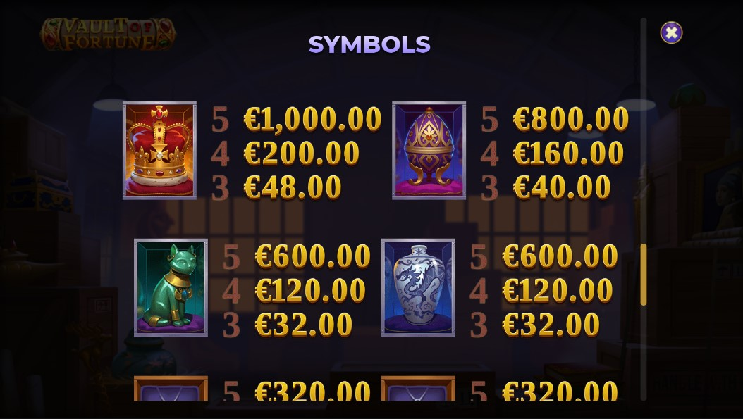 vault-of-fortune-slot-paytable