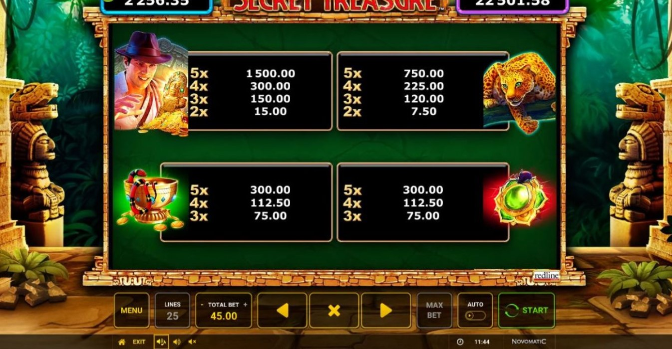 secret-treasure-slot-paytable