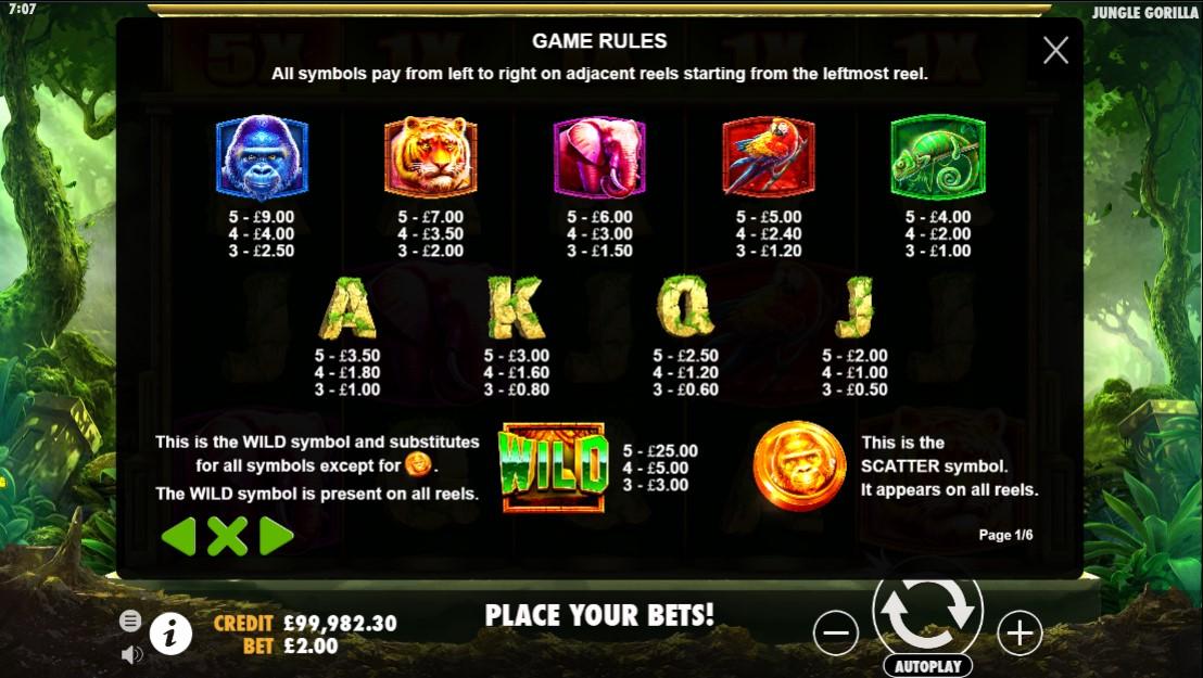 jungle-gorilla-slot-paytable